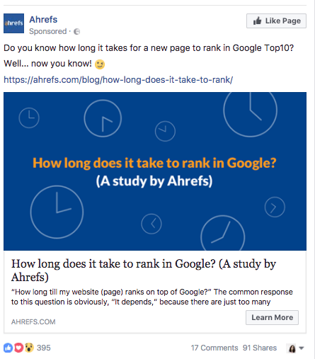 ahrefs social media ad on how to rank in google top 10