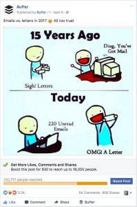 Buffer meme ad on facebook