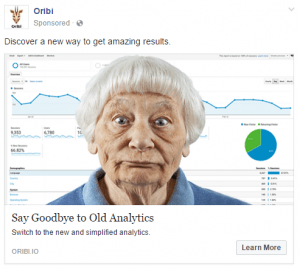 Facebook Ad example with a headline saying goodbye to old analytics