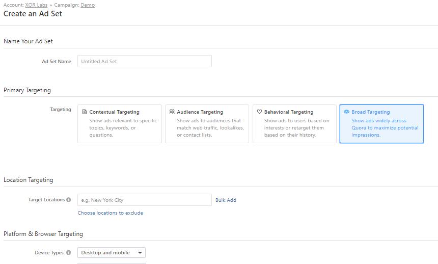 Different Options & Targeting option on Quora Ads Platform